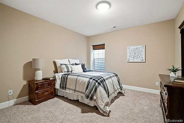 Photo #15 Wonderful guest bedroom in lower level with egress access and plush carpeting.