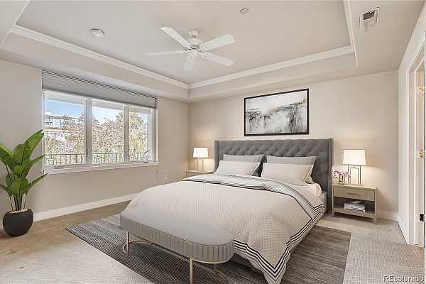 Photo #6 Main floor Owners bedroom.  Notice the coffered or tray ceiling, a grand bath is adjacent, with double vanities, separate shower, and jetted tub.  A more than ample walk in closet makes organizing your clothing a cinch!